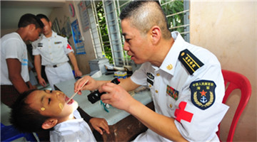 Chinese naval escort taskforce visits Burmese orphanage