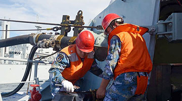 Chinese naval taskforce conducts replenishment-at-sea in western Pacific