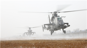 Attack helicopters lift off in snowy weather