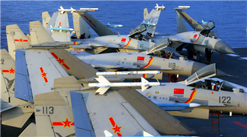 Ship-borne fighter jets take off from aircraft carrier Liaoning