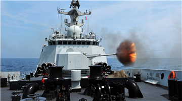 Frigates fire rocket-propelled depth charges