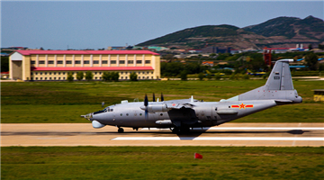 Multi-type reconnaissance aircraft take off in Liaodong Peninsula