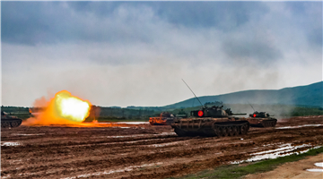 Multi-type tanks fire at targets