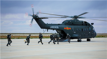 Attack helicopters lift off successively