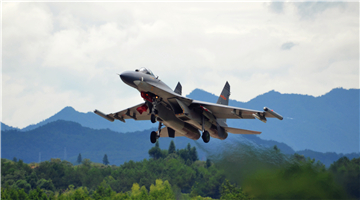 J-11 fighter jet takes off for training