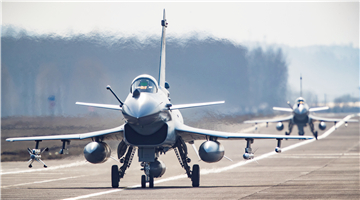 J-10 fighter jets take off on training sortie