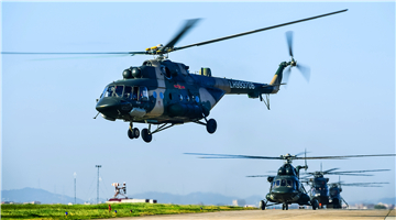 Helicopters lift off for flight training