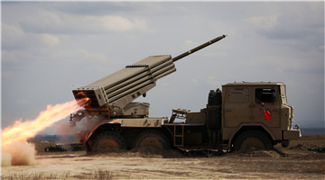 122mm rocket launcher fires in Gobi Desert