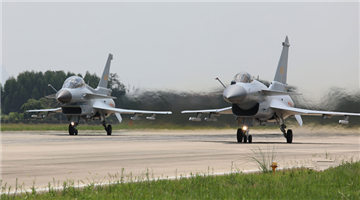 J-10 fighter jets participate in flight training