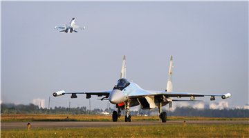 Su-35 fighter jets take off for round-the-clock training