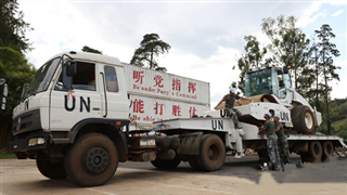 Chinese peacekeeping forces to the DRC carry out construction task