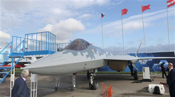 Russia's most advanced fighter jet Su-57 is on display