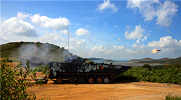Amphibious IFVs fire anti-tank missiles