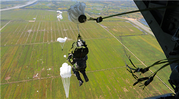 Paratroopers descend to the drop zone