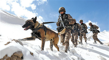 Soldiers patrol on the border after snowfall