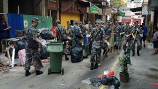 Chinese troops in Macao to help with disaster relief